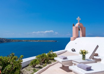 Villa Sunset Chaser Sea View of Santorini and chapel